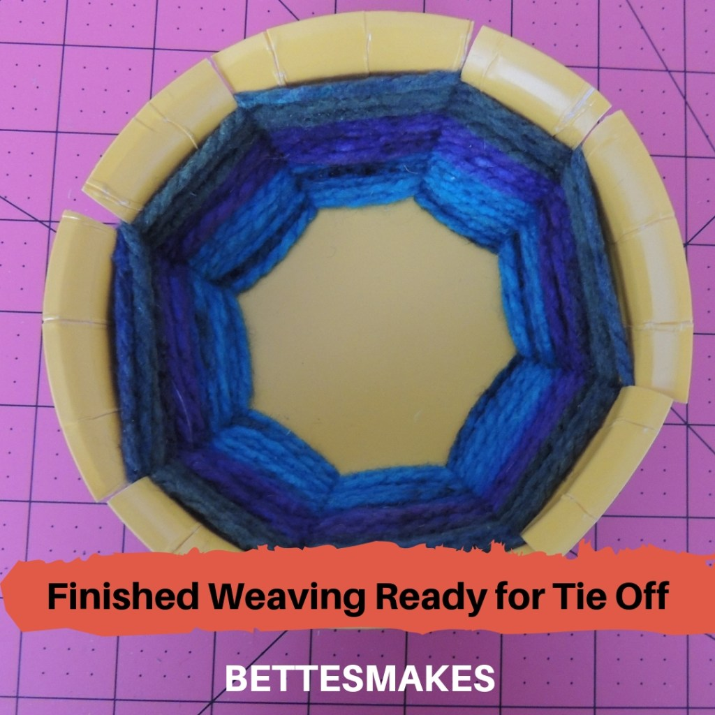 Paper Plate Weaving Complete and ready for tying off