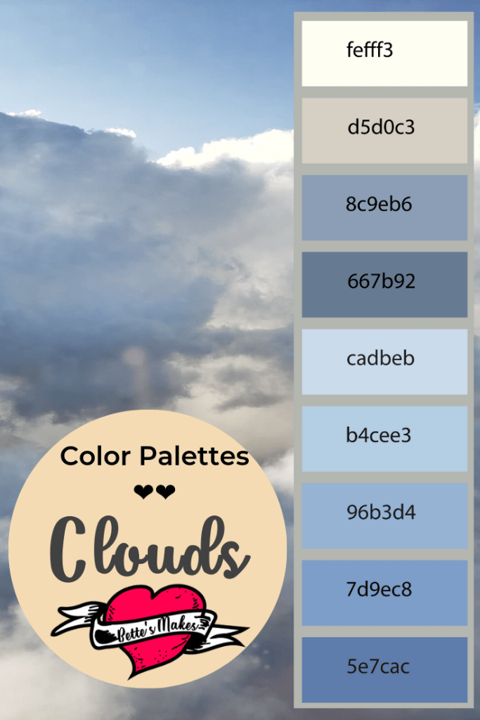 Clouds color palette gives you a real idea around what colors clouds really are. We imagine white and gray but did you know they are also blue? Use this color palette as a basis for watercolor art and more from bettesmakes.com