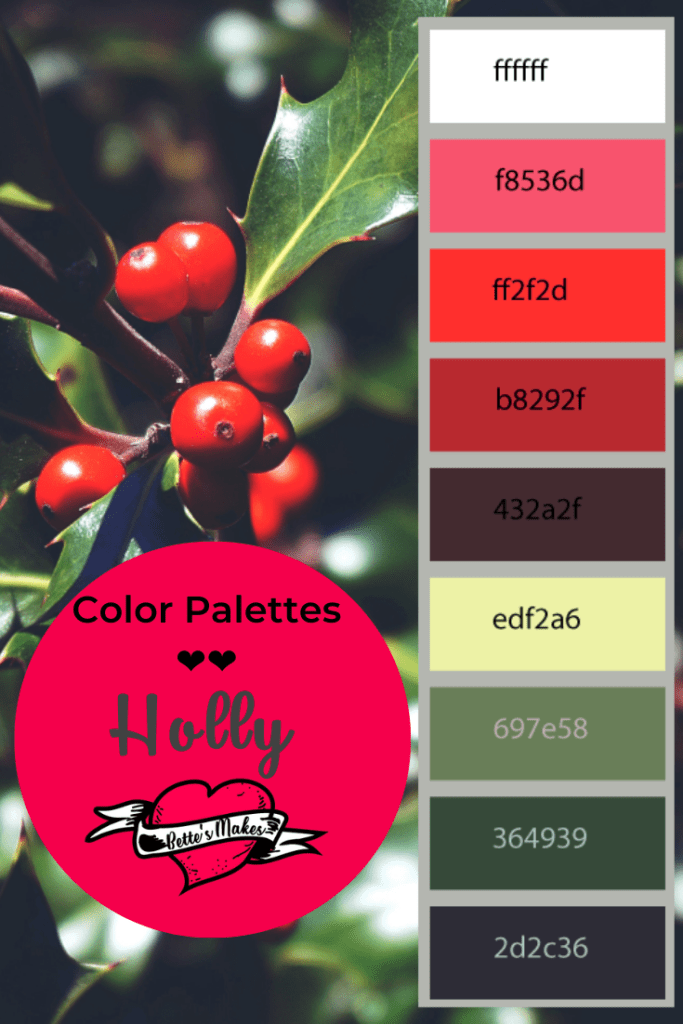 Winter time and the berries are red and ripe with this Holly Color alette. Use this palette when making your winter crafts using your Cricut or by hand! Just imagine what you can do with these amazing colors! #Cricut #papercarft #colorpalette