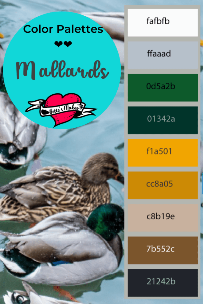 Color palettes to use in all your crafting - great colors from nature. This mallard duck color palette is perfect for bird related images! #colorpalette #color #duck