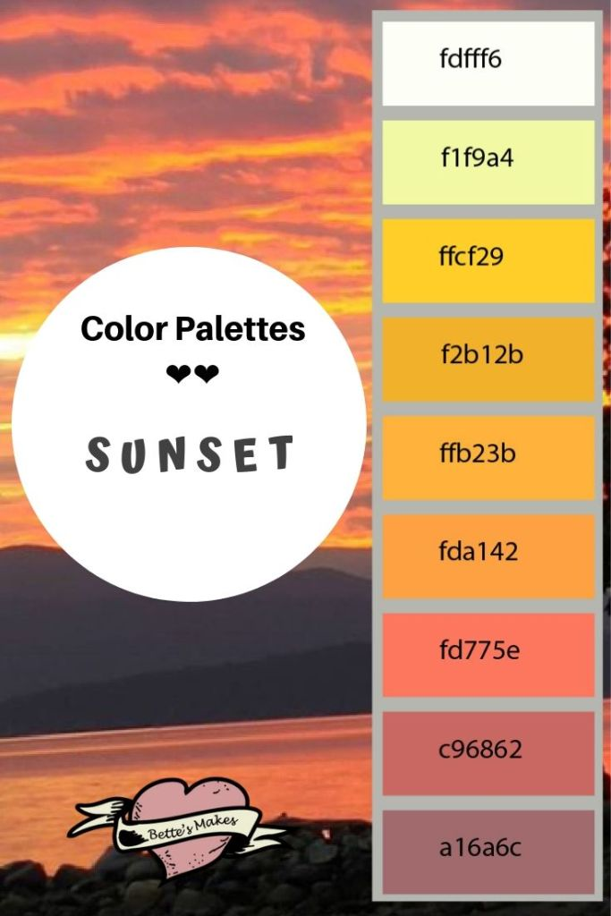 There is no doubt that a sunset brings people together! Watch one every night and you will get something different each time. The more colorful the sunset, the more awe inspiring it is. Take these awesome moments and use them in your designs and graphics. Any palette from nature gives you a very realistic look! #colorPaletttes