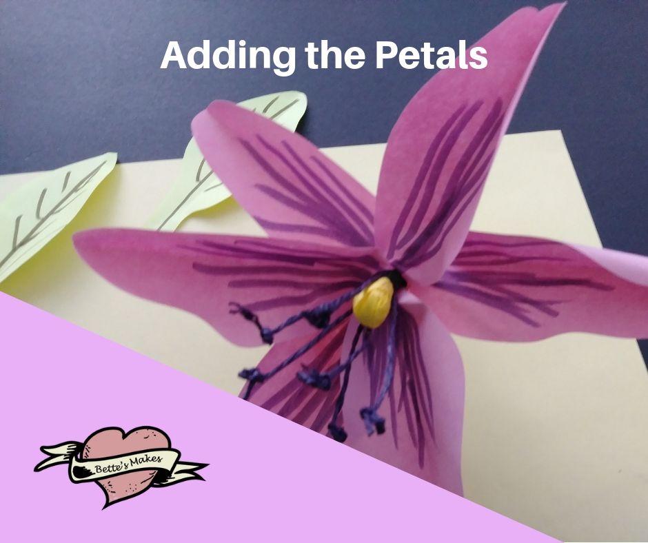 DIY Paper Flower Lily - Adding the Petals - BettesMakes.com