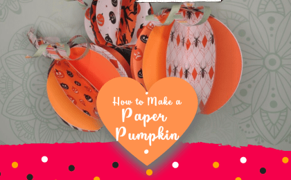How to Make a gorgeous paper pumpkin out of cardstock and glue! This gorgeous DIY Home Decor craft is made using a Cricut cutting machine! You can also cut the shapes by hand, if need be. Take this FREE tutorial and download the FREE template at https://BettesMakes.com #cricut #cricutcraft #cricutproject #papercraft #pumpkin