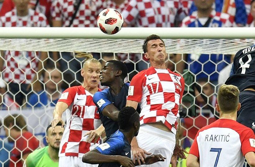 Mario Manduzkic of Croatia scoring an own goal against France in the 2018 WC Final
