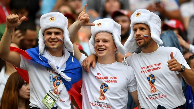 Russian fans at the World Cup in 2018