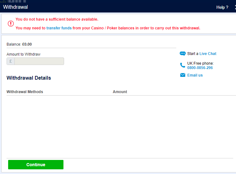William Hill withdraw