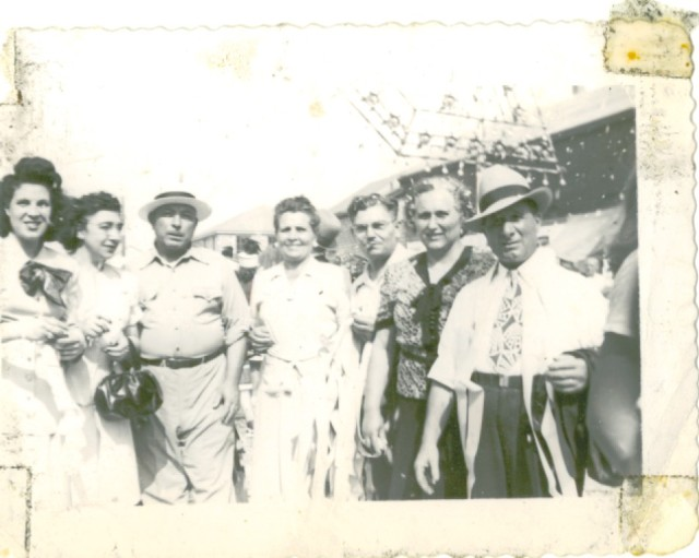 "My grandfather ""Nanu"" Bettinelli is on the far right and my grandmother ""Nana"" is to the left of him. The other couples are the captain of his fishing boat, another fisherman and wives."