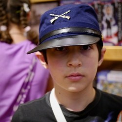 Ben tries on a Union kepi