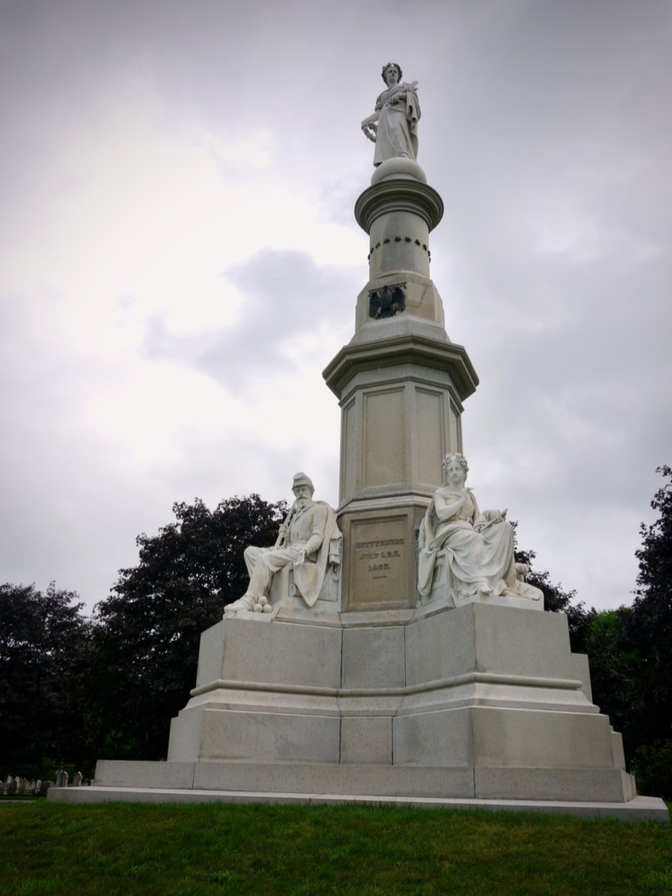 The monument at the location of the Gettysburg Address