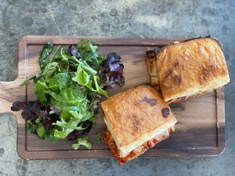 Eggplant Panini served with a side of mixed greens