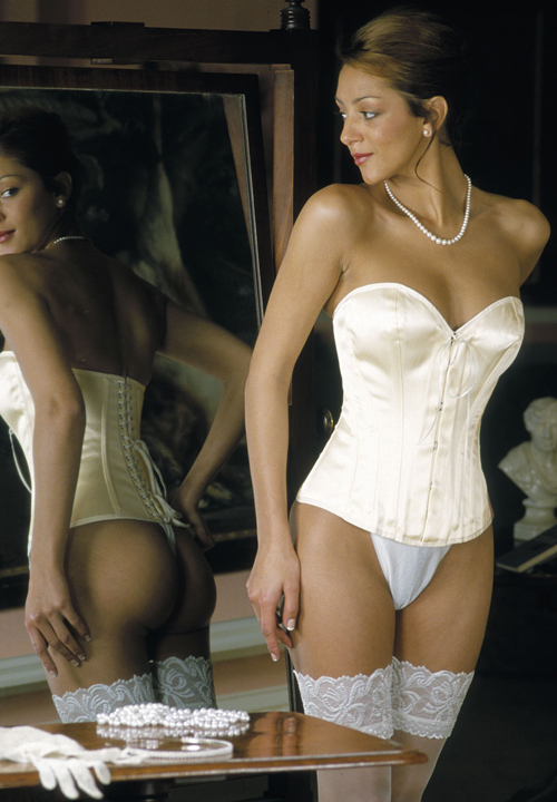 Low Backed Ivory Satin Overbust Bridal Corset 125 front