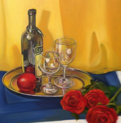 """""""Glass Reflections"""" Oil on Canvas, 20""""x20"""""""