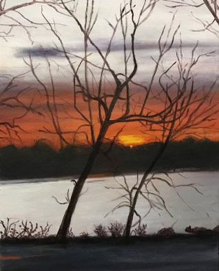 """Tamar's Sunset,"" Oil on Canvas, 14""x18"""