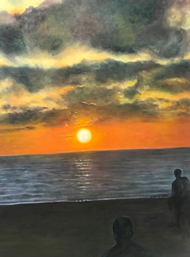 """Tel Aviv Sunset,"" Oil on Canvas, 18""x24"""