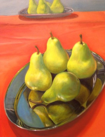 """Pear Reflection,"" Oil on Canvas, 18""x18"""