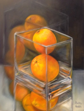 """""""Orange Reflections,"""" Oil on Canvas, 12""""x16"""""""