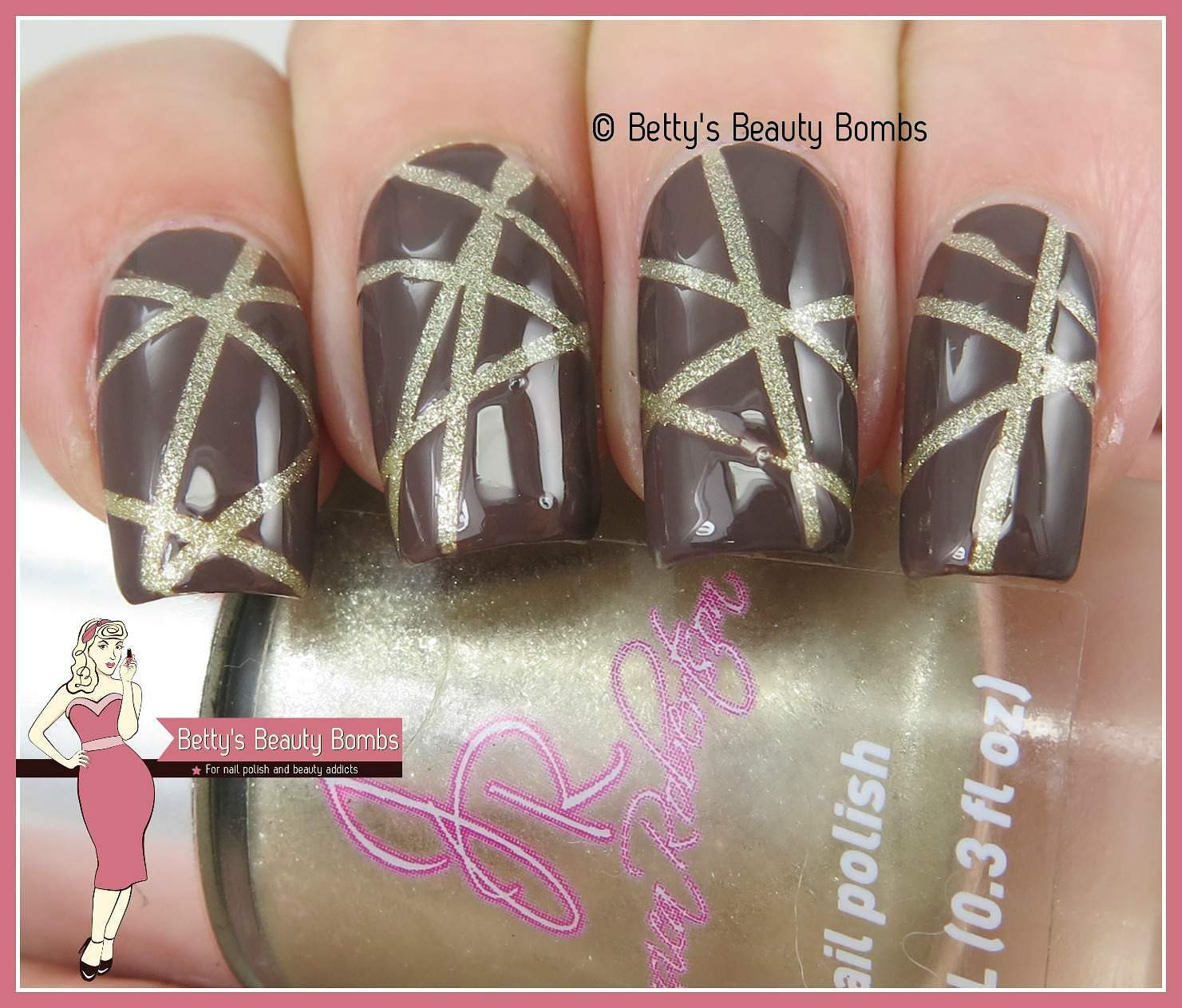 Brown and Gold Striping Tape Nail Art - Lazy Betty