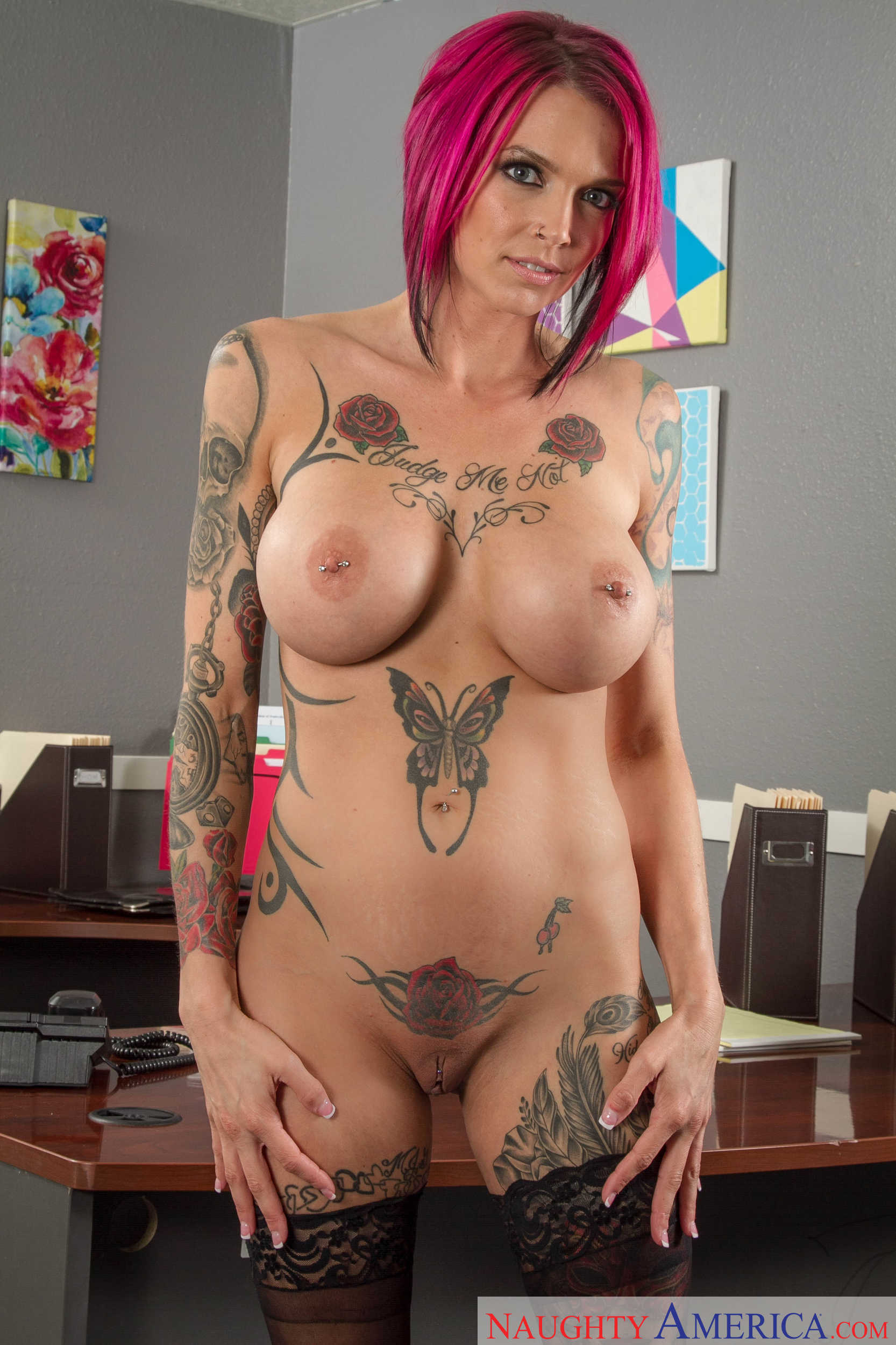 Busty alt chick Anna Bell Peaks spreads legs on the office