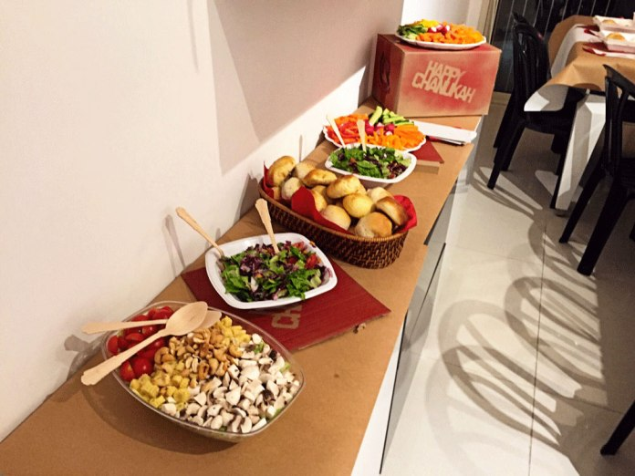 Salad bar at a Takeout themed Party. Try this for your next Hannukah party!