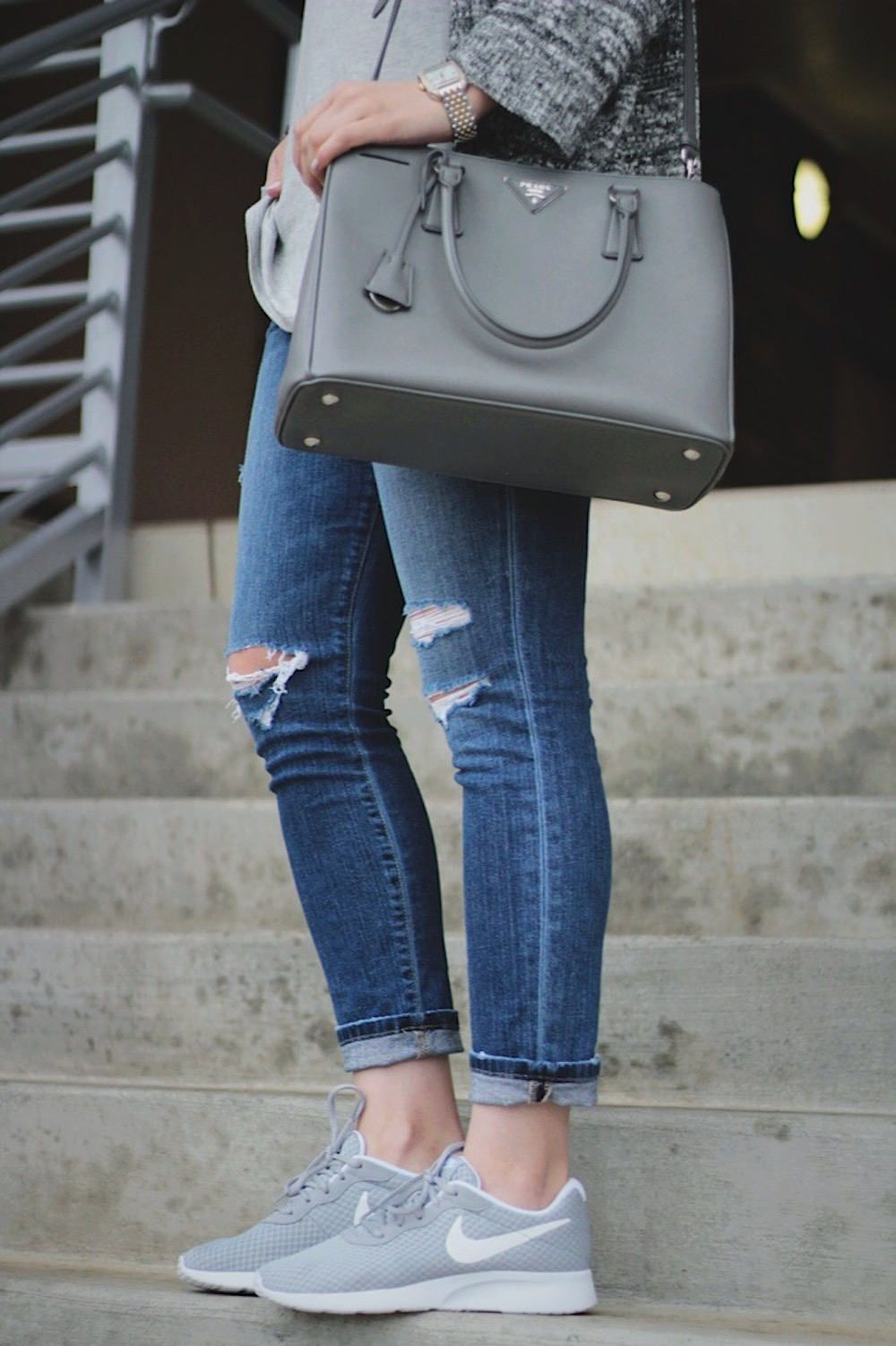 grey nikes casual style