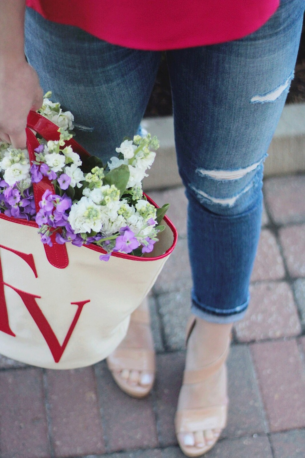 canvas tote and fresh flowers