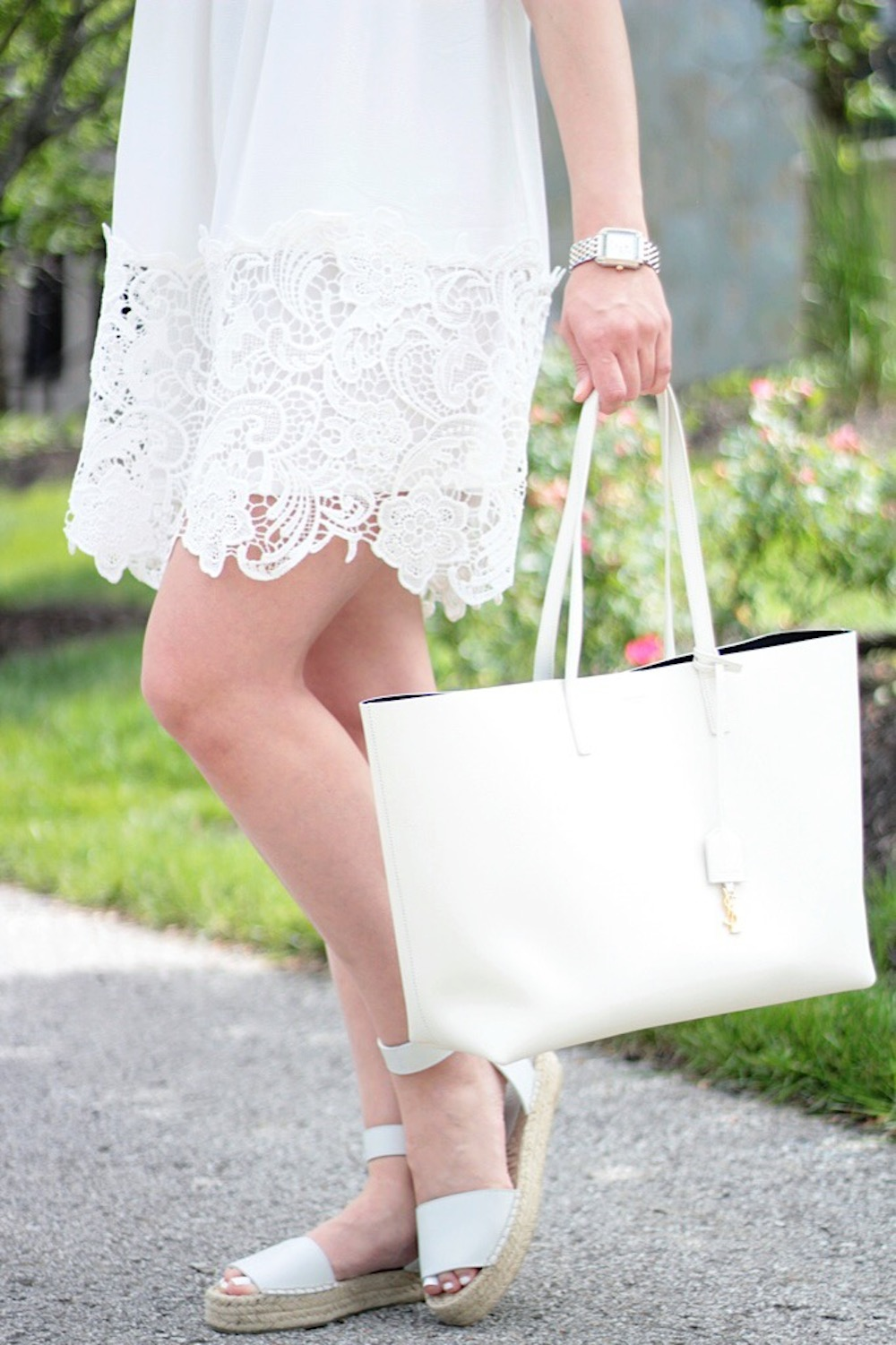 white dress and vince espadrilles