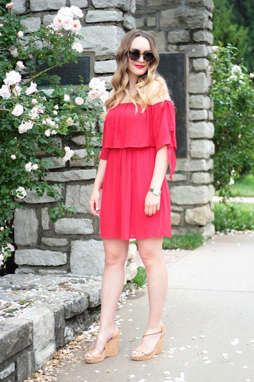 off-the-shoulder dress between two coasts