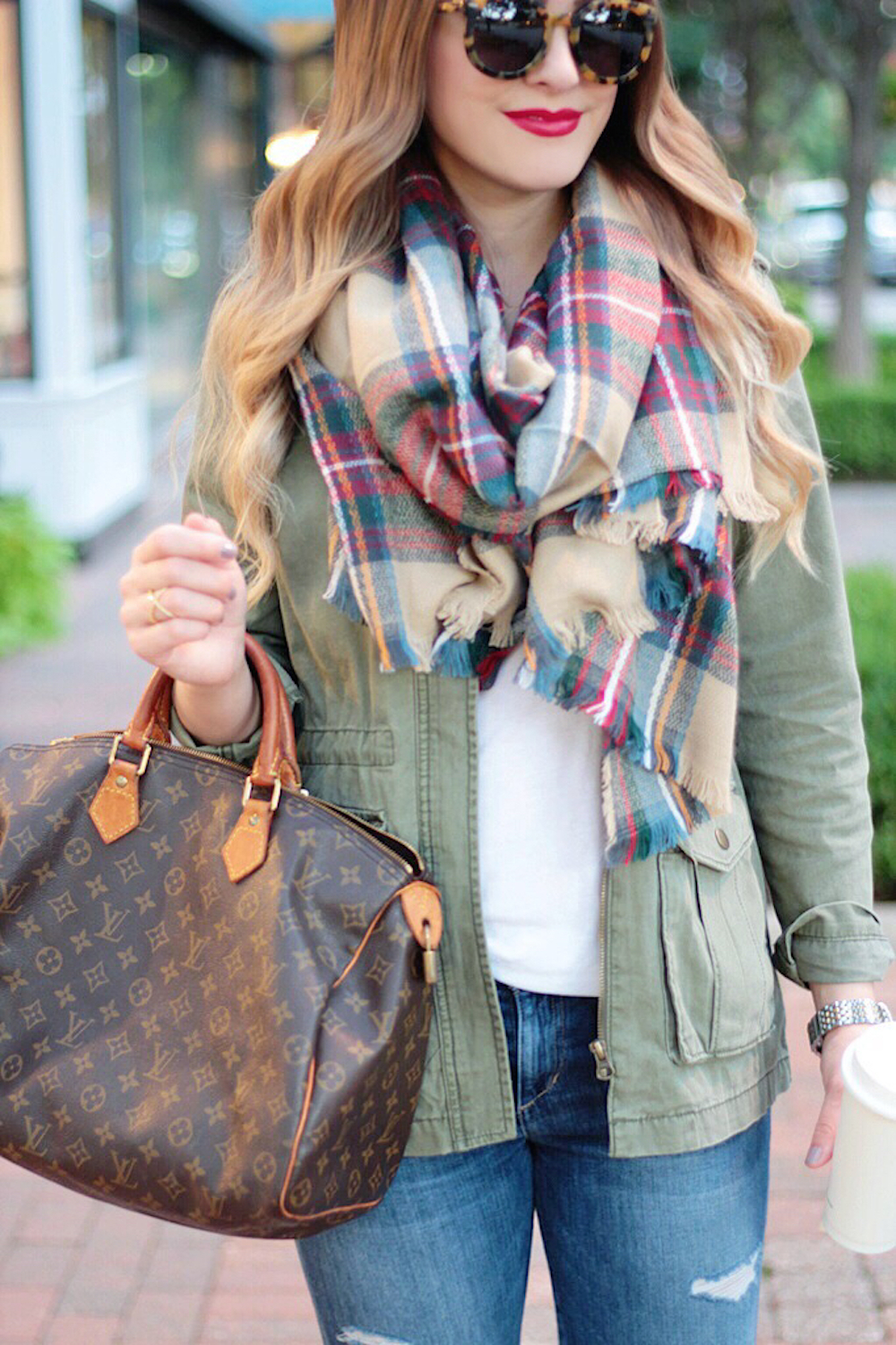 fall fashion plaid blanket scarf between two coasts