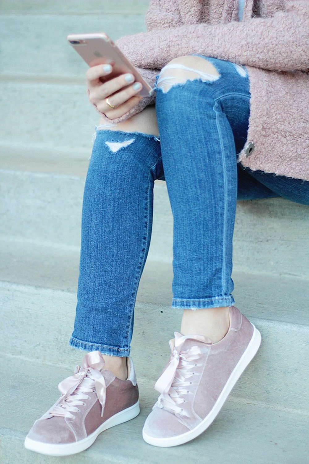 blush pink velvet sneakers rachel puccetti