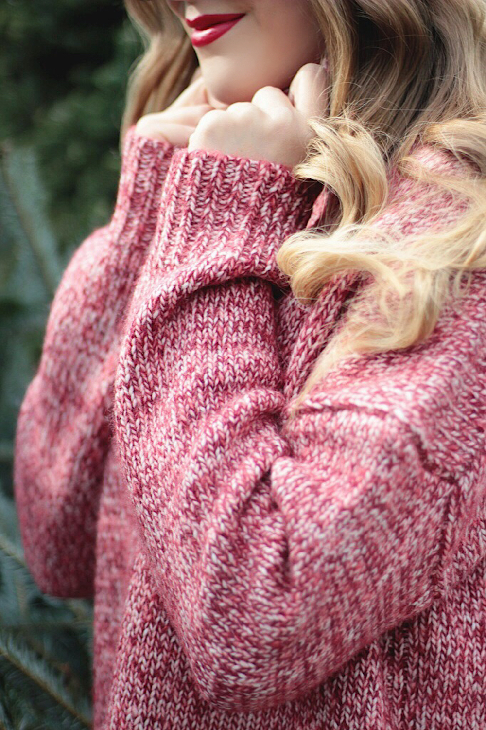 cozy red sweater rachel puccetti