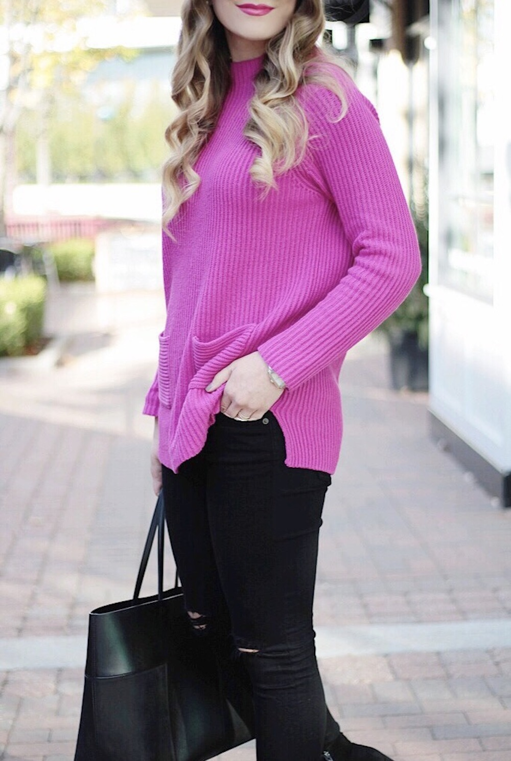 nordstrom chaos pink sweater rachel puccetti