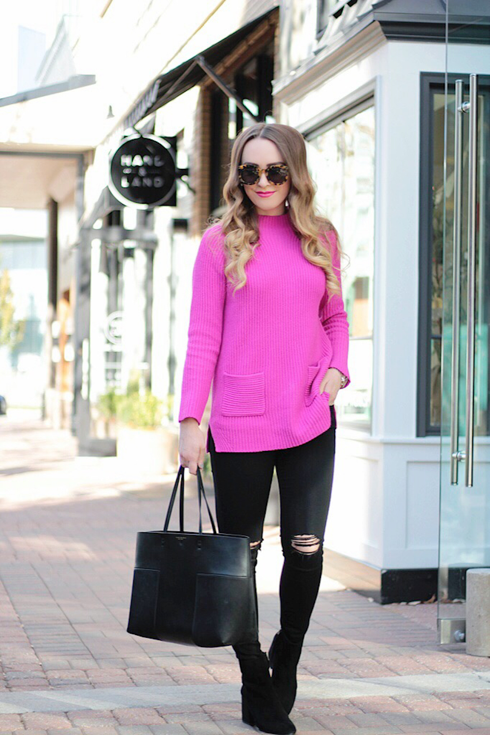 pretty pink sweater rachel puccetti between two coasts