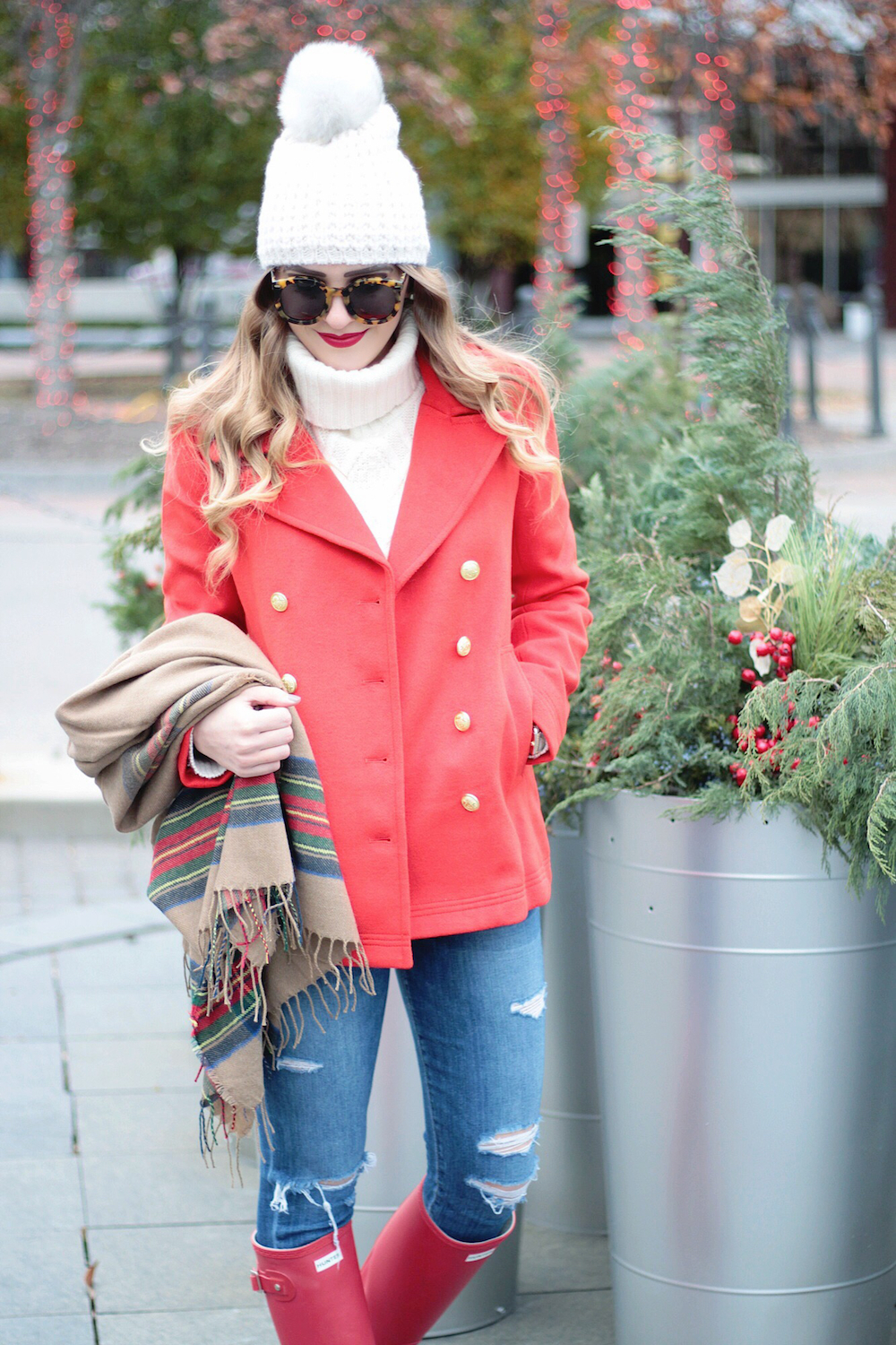 red coat tartan plaid scarf rachel puccetti between two coasts