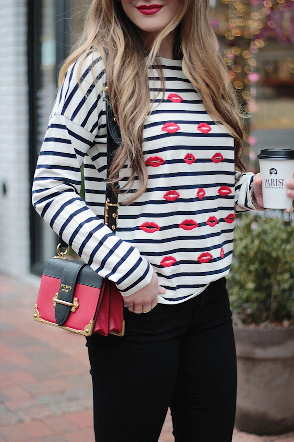 bisous striped tee rachel puccetti between two coasts
