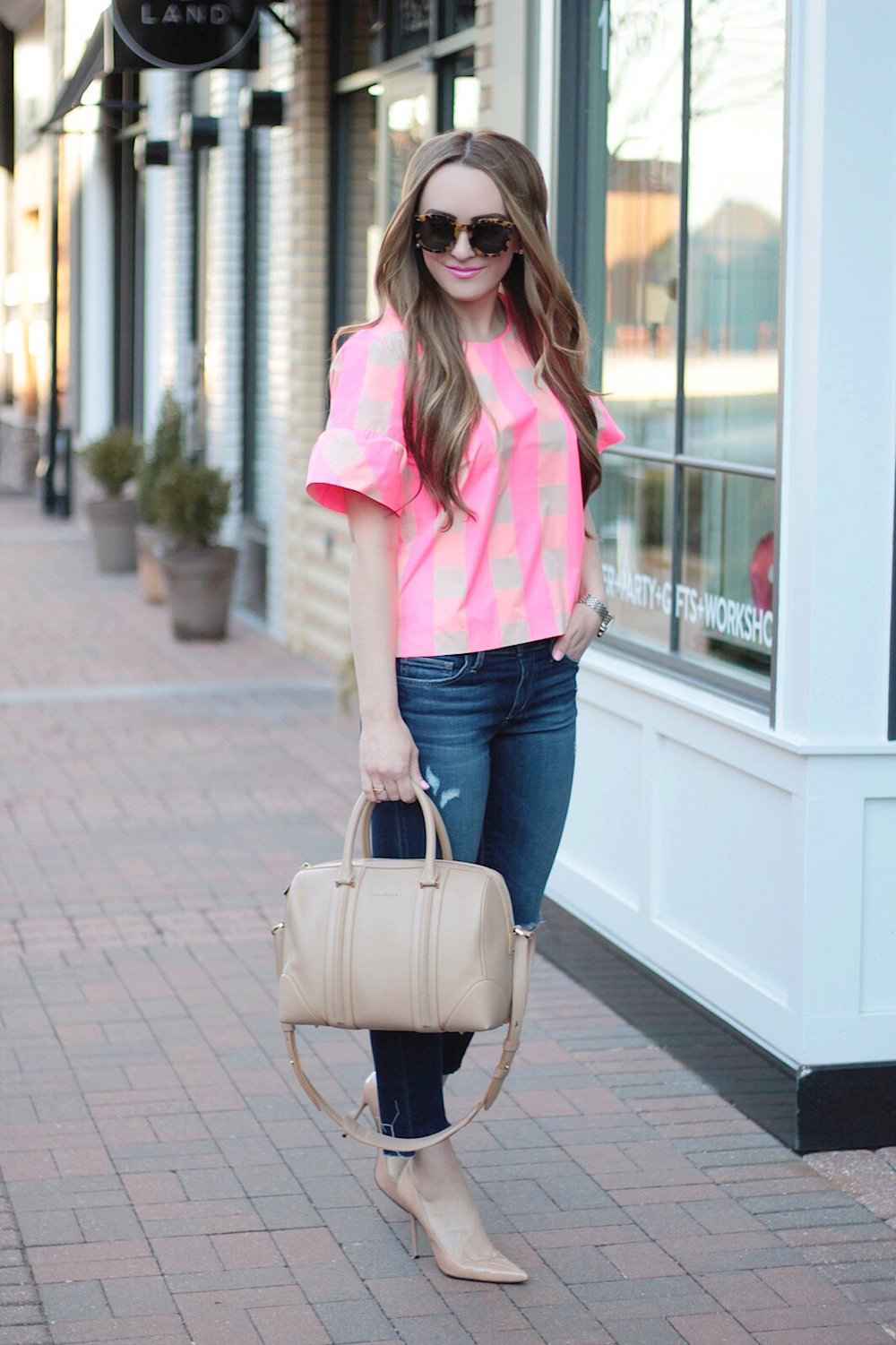 pink gingham ruffle top rachel puccetti between two coasts