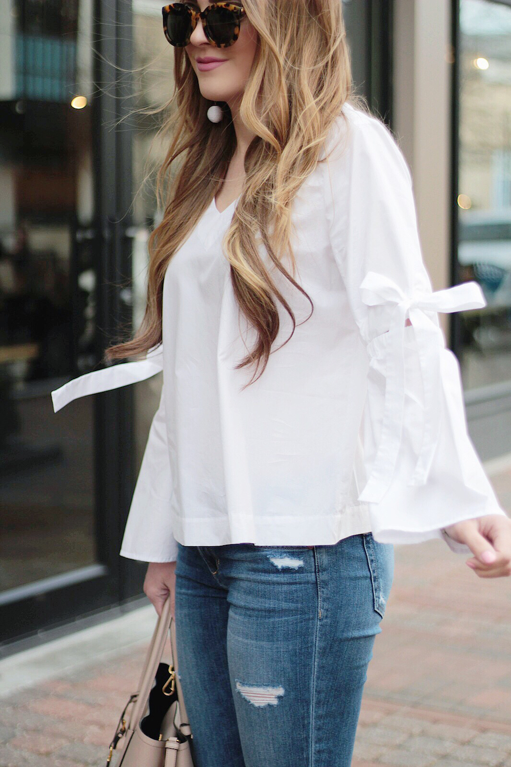 white bell sleeve top rachel puccetti between two coasts