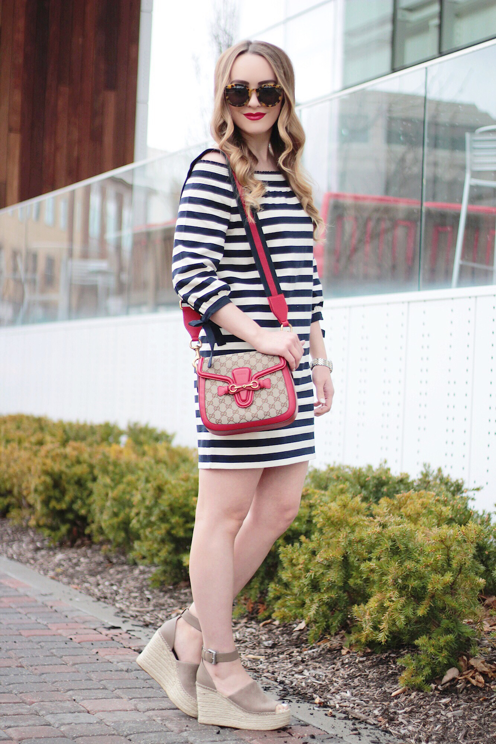 jcrew striped off the shoulder dress rachel puccetti between two coasts
