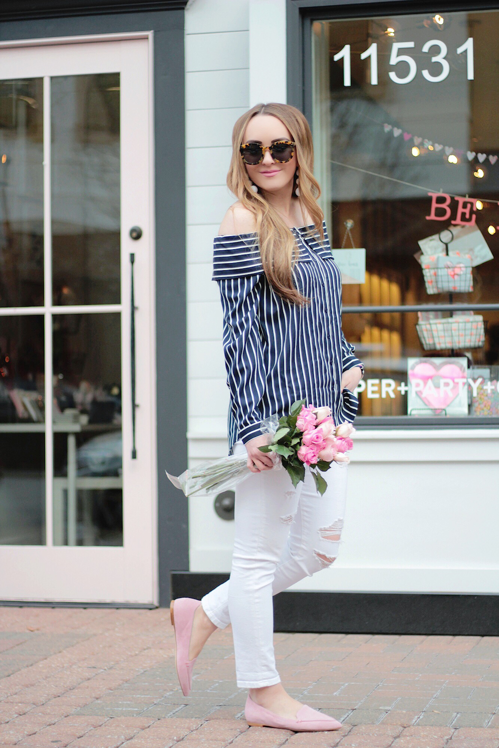 striped off the shoulder top rachel puccetti between two coasts