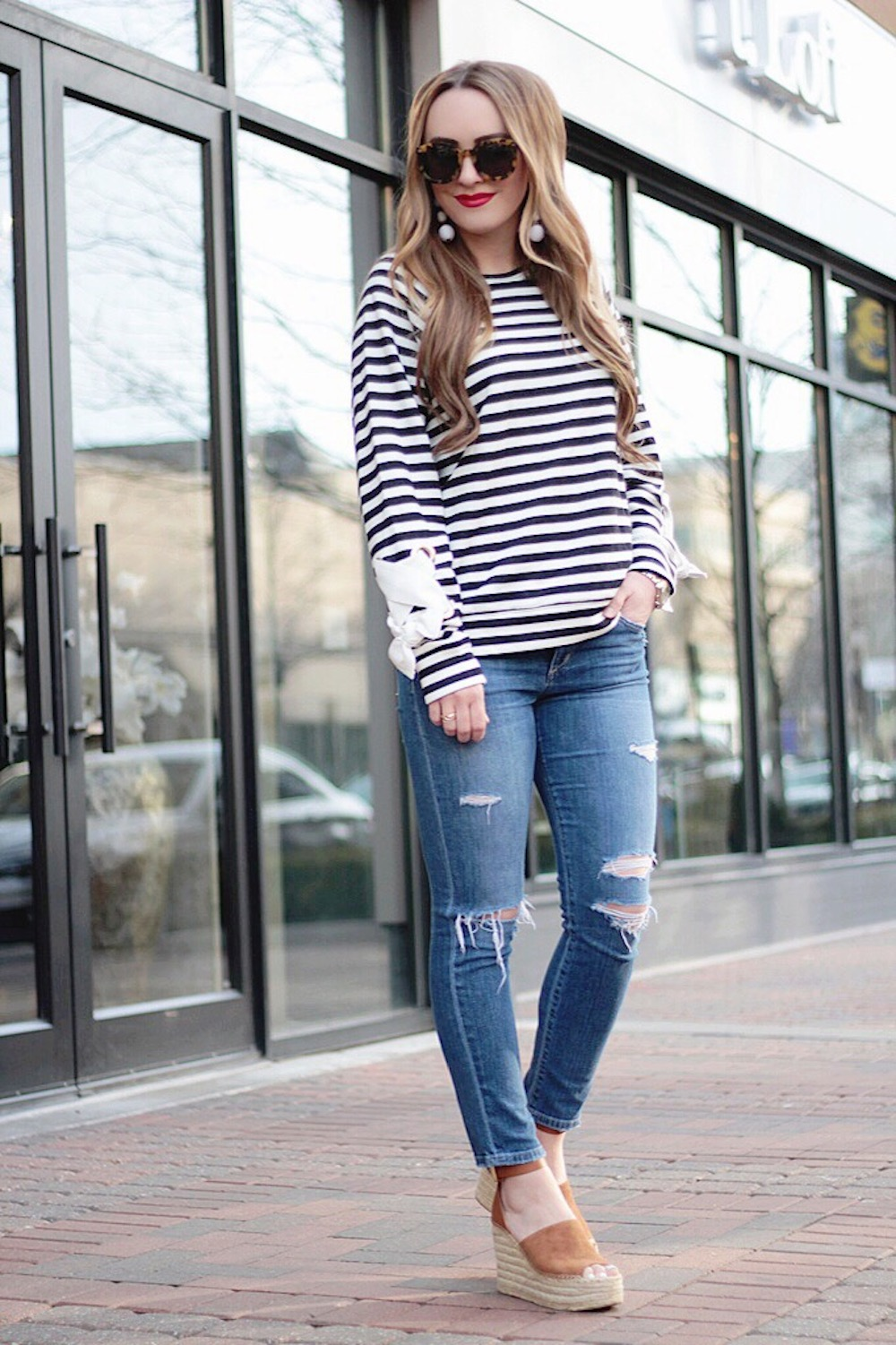 striped tie sleeve sweatshirt rachel puccetti between two coasts