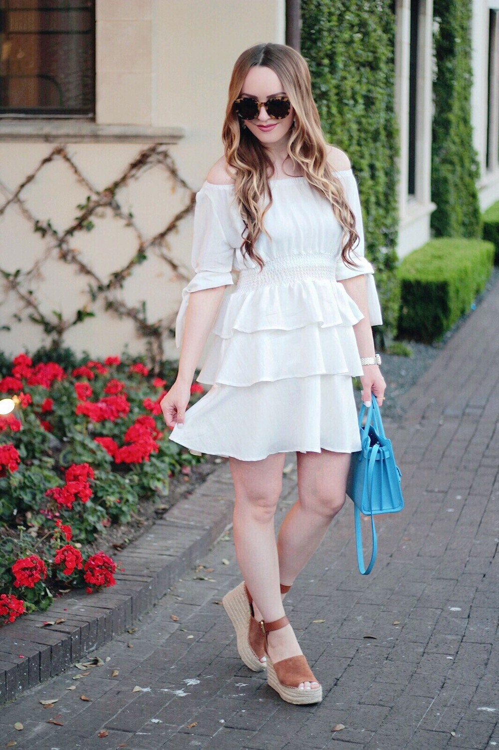 off the shoulder white dress rachel puccetti
