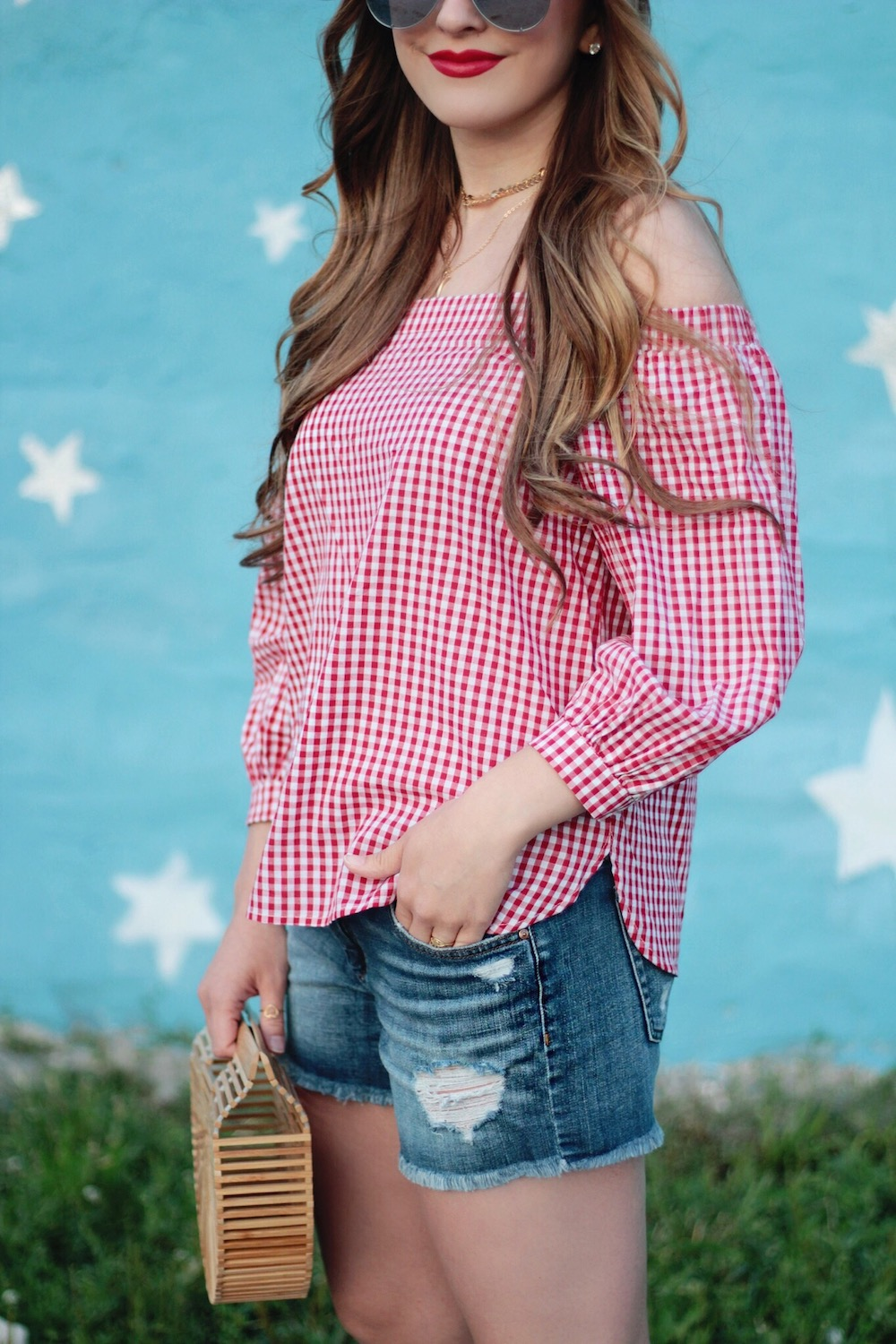 gingham off the shoulder top rachel puccetti