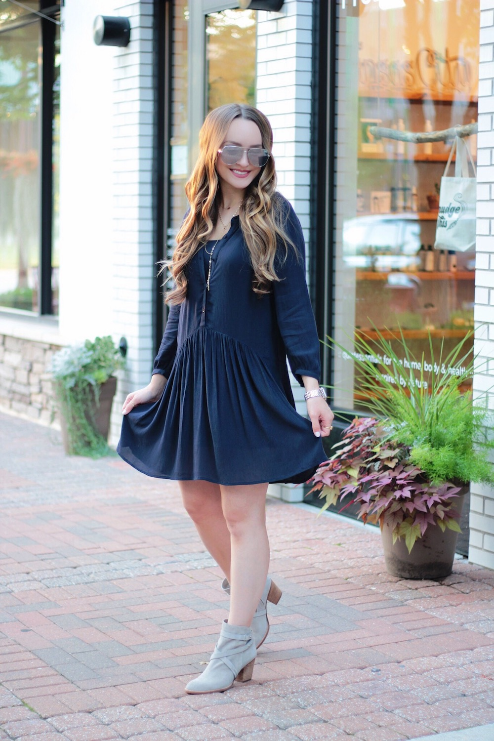 navy hinge dress fall transition style rachel puccetti