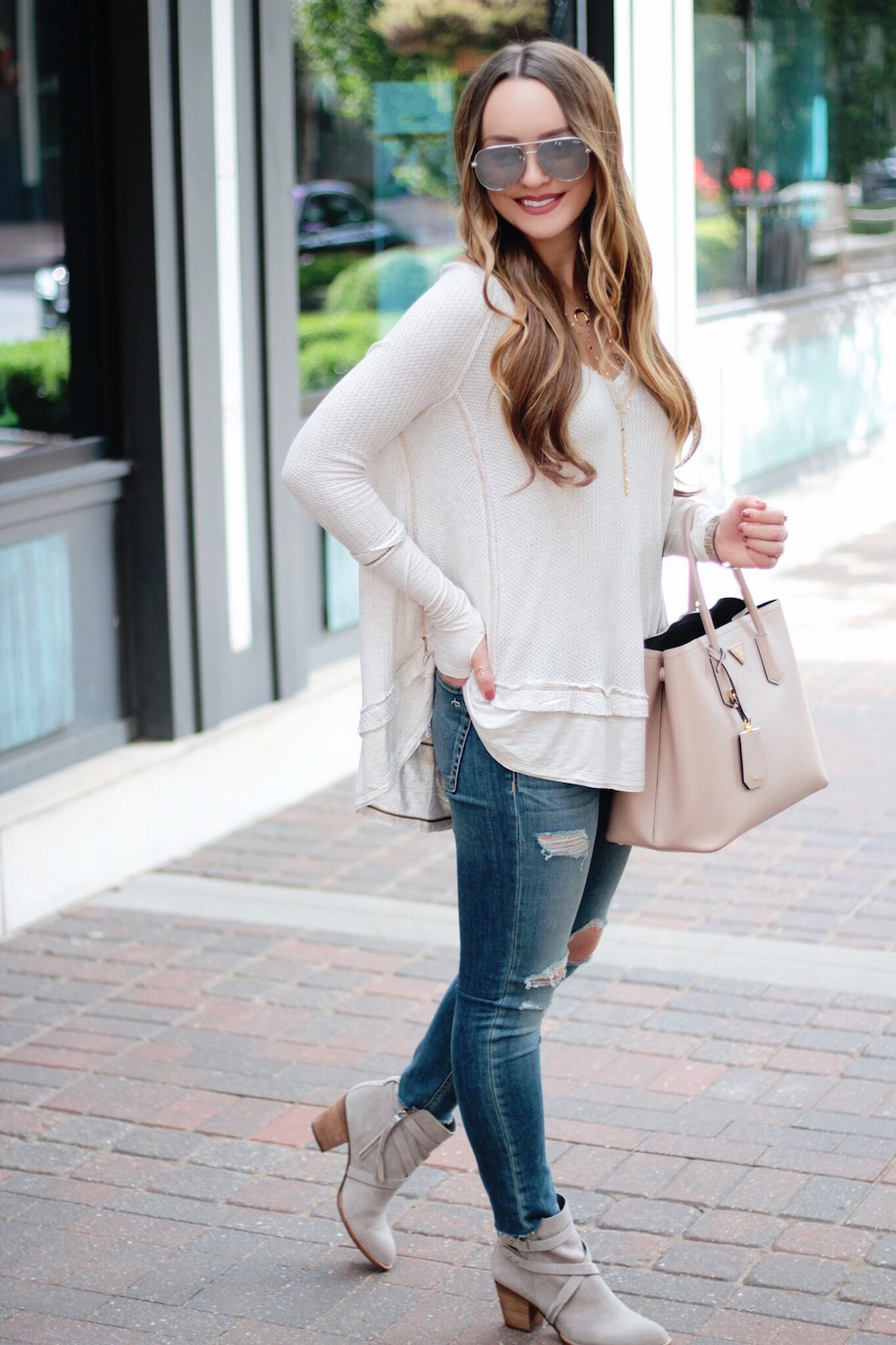 fall outfits thermal tee rachel puccetti between two coasts