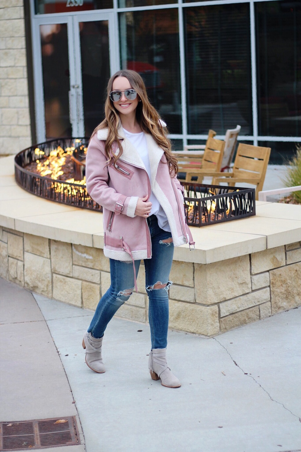 pink shearling biker jacket rachel puccetti between two coasts