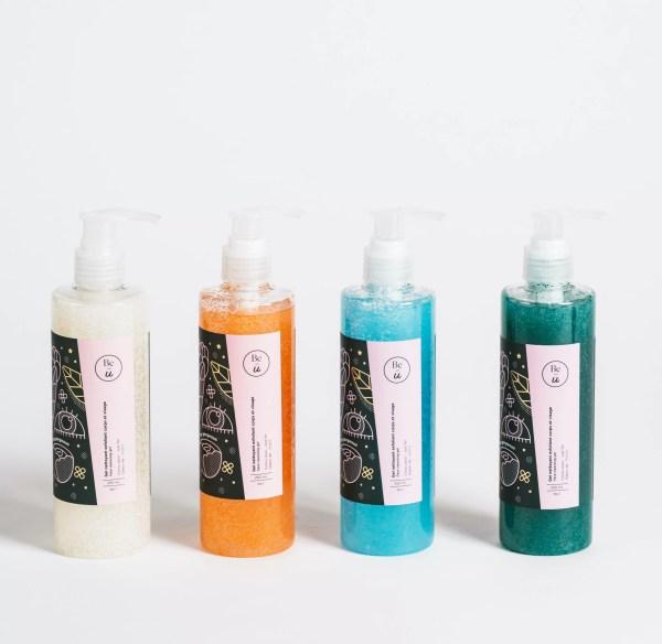 4 gels nettoyants visage et corps