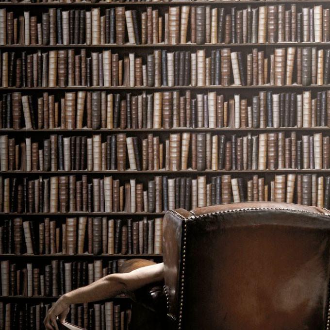 antique bibliotheque books wallpaper