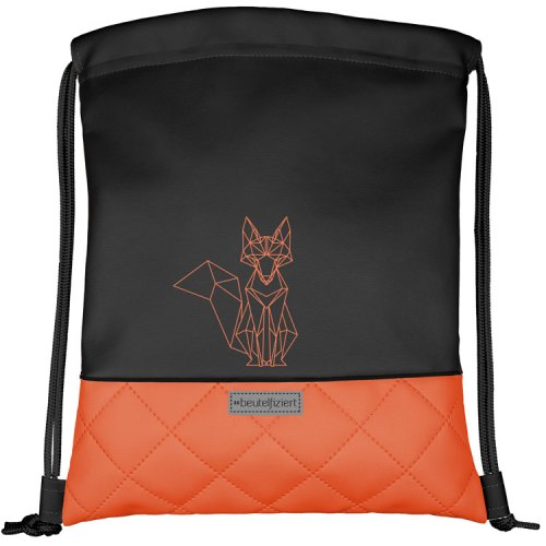 Turnbeutel Fuchs Motiv -Orange-Schwarz