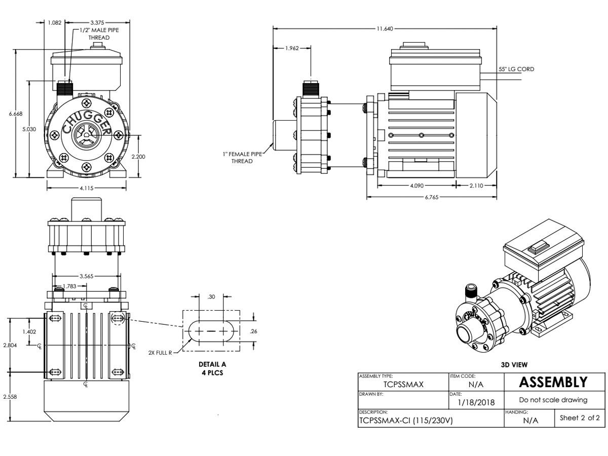 Chugger Tcpssmax Ci Stainless Steel Brew Pump