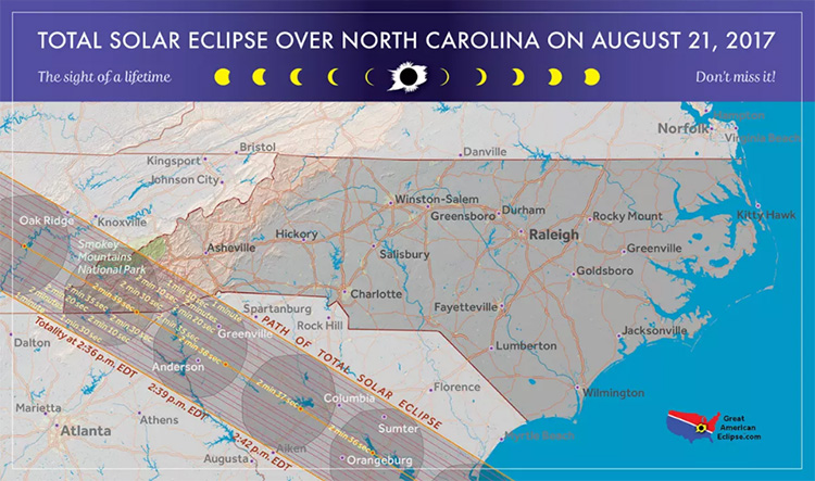 total solar eclipse over North Carolina on August 21, 2017