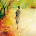 Woman Walking Among Autumn Leaves